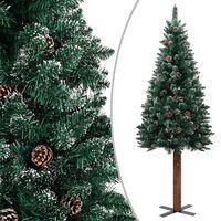 vidaXL Χριστουγεννιάτικο Δέντρο Slim Πράσινο 180 εκ. με Ξύλο/Χιόνι