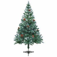 vidaXL Χριστουγεννιάτικο Δέντρο Τεχνητό Χιονισμένο+Κουκουνάρια 150 εκ.