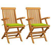 vidaXL Καρέκλες Κήπου 2 τεμ. Μασίφ Ξύλο Teak Φωτεινά Πράσινα Μαξιλάρια