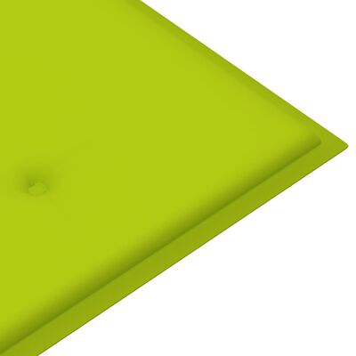 vidaXL Παγκάκι Κήπου 120 εκ. Μασίφ Ξύλο Teak Φωτεινό Πράσινο Μαξιλάρι
