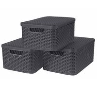 Curver Κουτιά Αποθήκευσης με Καπάκια Style 3 τεμ. Ανθρακί Μέγεθος M