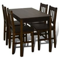 Ξύλινη Τραπεζαρία με 4 Καρέκλες Καφέ