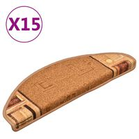 vidaXL Πατάκια Σκάλας Αυτοκόλλητα 15 τεμ. Μπεζ 65 x 21 x 4 εκ.
