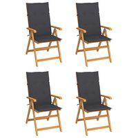 vidaXL Καρέκλες Κήπου 4 τεμ. από Μασίφ Ξύλο Teak με Ανθρακί Μαξιλάρια