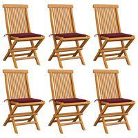 vidaXL Καρέκλες Κήπου 6 τεμ. από Μασίφ Ξύλο Teak με Μπορντό Μαξιλάρια