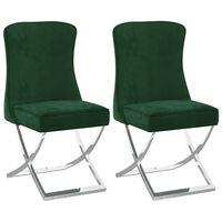 vidaXL Καρέκλες Τραπεζαρίας 2 τεμ. Πράσινο 53x52x98εκ. Βελ./Αν. Ατσάλι