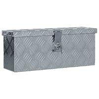 vidaXL Κουτί Αποθήκευσης Ασημί 48,5 x 14 x 20 εκ. Αλουμινίου