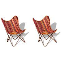 vidaXL Καρέκλες Πεταλούδα 2 τεμ. Πολύχρωμες από Ύφασμα Chindi