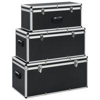 vidaXL Κουτιά Αποθήκευσης 3 τεμ. Μαύρα Αλουμινίου