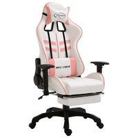 vidaXL Καρέκλα Gaming με Υποπόδιο Ροζ από Συνθετικό Δέρμα