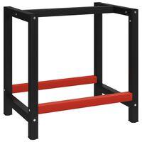 vidaXL Σκελετός Πάγκου Εργασίας Μαύρο/Κόκκινο 80x57x79 εκ. Μεταλλικός