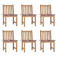 vidaXL Καρέκλες Κήπου 6 τεμ. από Μασίφ Ξύλο Teak με Μαξιλάρια