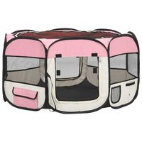 vidaXL Πάρκο Σκύλου Πτυσσόμενο Ροζ 125x125x61 εκ. με Σάκο Μεταφοράς