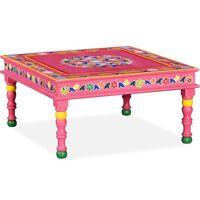 vidaXL Τραπέζι Σαλονιού με Χειροπ. Λεπτομέρειες Ροζ Μασίφ Ξύλο Μάνγκο