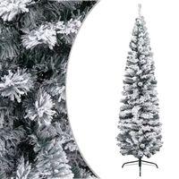vidaXL Χριστουγεννιάτικο Δέντρο Slim Χιονισμένο Πράσινο 210 εκ. PVC