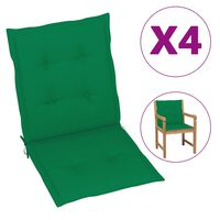 vidaXL Μαξιλάρια Καρέκλας Κήπου με Πλάτη 4 τεμ. Πράσινα 100x50x4 εκ.