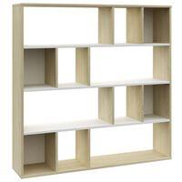 vidaXL Διαχωριστικό/Βιβλιοθήκη Λευκό/Sonoma 110x24x110 εκ. Μοριοσανίδα