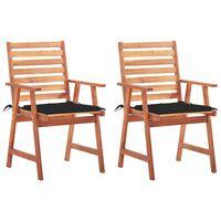 vidaXL Καρέκλες Τραπεζαρίας Εξ. Χώρου 2 τεμ. Ξύλο Ακακίας με Μαξιλάρια