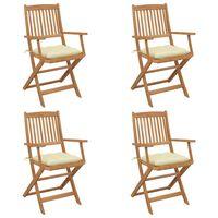 vidaXL Καρέκλες Κήπου Πτυσσόμενες 4 τεμ Μασίφ Ξύλο Ακακίας & Μαξιλάρια