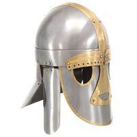 vidaXL Κράνος Μεσαιωνικό Ρέπλικα Αντικέ για LARP Ασημί Ατσάλινο