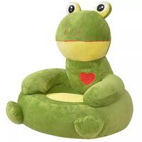 vidaXL Πολυθρόνα Παιδική Βάτραχος Πράσινη Λούτρινη