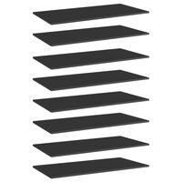 vidaXL Ράφια Βιβλιοθήκης 8 τεμ. Γυαλ. Μαύρο 80x20x1,5 εκ. Μοριοσανίδα