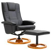 vidaXL Πολυθρόνα Περιστρεφόμενη Μαύρη από Συνθετικό Δέρμα με Υποπόδιο