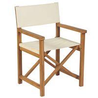 vidaXL Καρέκλα Σκηνοθέτη Πτυσσόμενη Λευκό Κρεμ από Μασίφ Ξύλο Teak