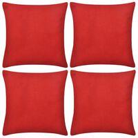 Καλύμματα Μαξιλαριών 4 τεμ. Κόκκινα 40 x 40 εκ. Βαμβακερά