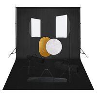vidaXL Κιτ Φωτογραφικού Στούντιο Softbox με Φώτα, Φόντο & Ανακλαστήρα
