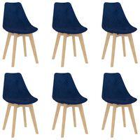 vidaXL Καρέκλες Τραπεζαρίας 6 τεμ. Μπλε Βελούδινες