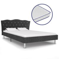 vidaXL Κρεβάτι Σκούρο Γκρι 120x200 εκ Υφασμάτινο + Στρώμα Αφρού Μνήμης