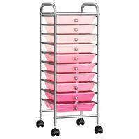 vidaXL Τρόλεϊ με 10 Συρτάρια Φορητό Ροζ Ομπρέ Πλαστικό