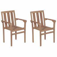 vidaXL Καρέκλες Κήπου Στοιβαζόμενες 2 τεμ. από Μασίφ Ξύλο Teak