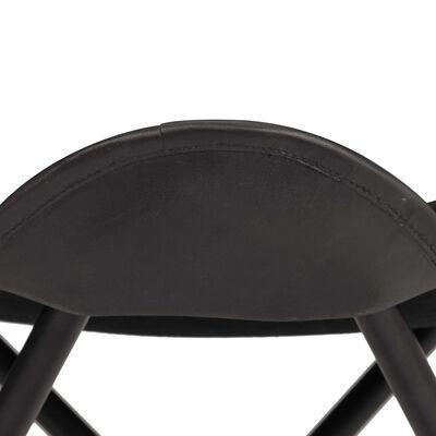 vidaXL Σκαμπό Πεταλούδα Μαύρο από Γνήσιο Δέρμα