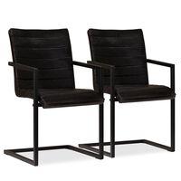 vidaXL Καρέκλες Τραπεζαρίας 2 τεμ. Ανθρακί από Γνήσιο Δέρμα