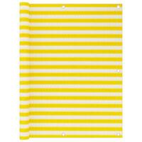 vidaXL Διαχωριστικό Βεράντας Κίτρινο / Λευκό 120 x 600 εκ. από HDPE
