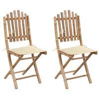 vidaXL Καρέκλες Κήπου Πτυσσόμενες 2 τεμ. από Μπαμπού με Μαξιλάρια