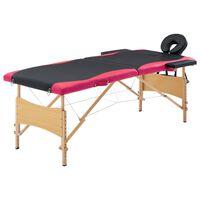 vidaXL Κρεβάτι Μασάζ Πτυσσόμενο 2 Θέσεων Μαύρο / Ροζ Ξύλινο