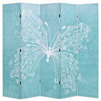vidaXL Διαχωριστικό Δωματίου Πτυσσόμενο Πεταλούδα Μπλε 200 x 170 εκ.