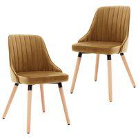 vidaXL Καρέκλες Τραπεζαρίας 2 τεμ. Καφέ Βελούδινες
