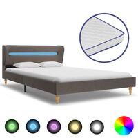 vidaXL Κρεβάτι με LED Χρώμα Taupe 140 x 200 εκ. Ύφασμα με Στρώμα Αφρού