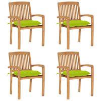 vidaXL Καρέκλες Κήπου Στοιβαζόμενες 4 τεμ. Μασίφ Ξύλο Teak & Μαξιλάρια