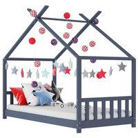 vidaXL Πλαίσιο Κρεβατιού Παιδικό Γκρι 80 x 160 εκ. Μασίφ Ξύλο Πεύκου