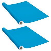vidaXL Μεμβράνες Αυτοκόλλητες για Έπιπλα 2 τεμ. Αζούρ 500x90 εκ. PVC
