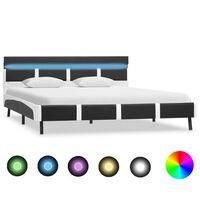 vidaXL Πλαίσιο Κρεβατιού με LED Γκρι 160x200 εκ. από Συνθετικό Δέρμα