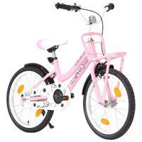 vidaXL Ποδήλατο Παιδικό Ροζ / Μαύρο 18 Ιντσών με Μπροστινή Σχάρα
