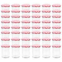 vidaXL Βάζα Μαρμελάδας 48 τεμ. 400 ml Γυάλινα με Λευκά/Κόκκινα Καπάκια