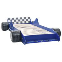 vidaXL Κρεβάτι Παιδικό Αγωνιστικό Αυτοκίνητο Μπλε 90 x 200 εκ.