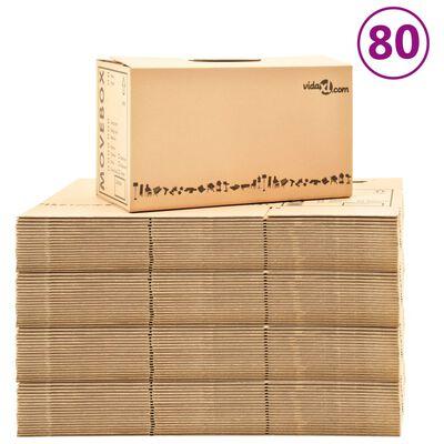 vidaXL Χαρτοκιβώτια Μετακόμισης 80 τεμ. XXL 60 x 33 x 34 εκ.